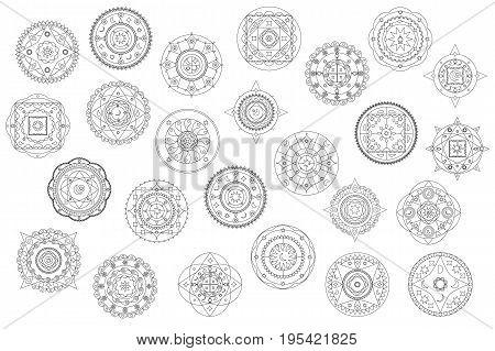 Thin line mandala ornament vector clipart. Black and white mandala coloring elements. Eastern buddhist mandala collection. Islamic decoration. Arabic stamp. Moon and star design icon. Geometric logo