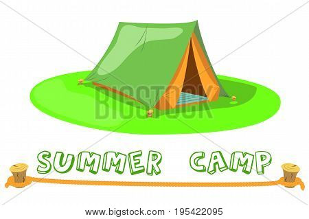 Summer Camp Tent on green lawn. Camp tent vector illustration on white background. Comic tent for natural hiking or ecotourism. Summer campsite banner template. Optimistic green orange cartoon tent