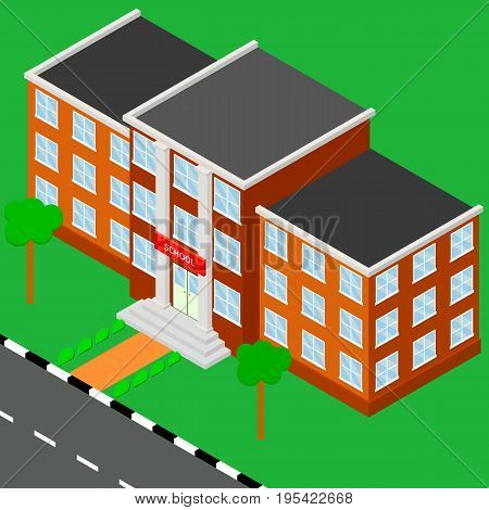 School isometric. Building Isometric View Urban Education Architecture Modern Exterior Facade for Web. A vector illustration of Isometric
