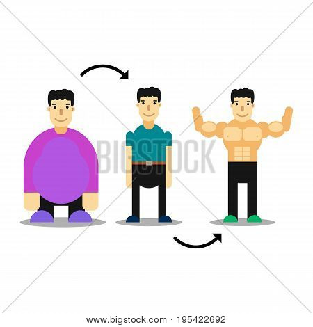 Man body transformation. Weight loss bodybuilding training. From fat to muscle man concept illustration. Picture human body before and after diet and fitness. Isolated on white background.