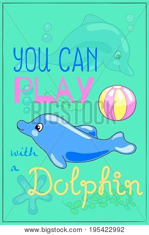 Cute dolphin cartoon vector illustration. Underwater animal of tropical seashore. Snorkeling or diving poster. Undersea wildlife cartoon dolphin. Sea animal dolphin nursery decor. Marine postcard
