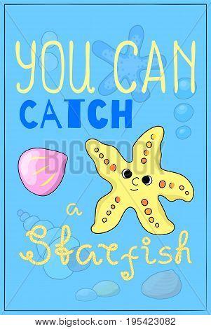 Cute starfish cartoon vector illustration. Underwater animal of tropical seashore. Snorkeling or diving poster. Undersea wildlife cartoon postcard. Sea animal star fish nursery decor. Seaside poster