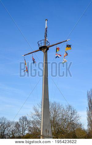 A Metal Mast In A Park Near The River Rhein In Mannheim, Germany