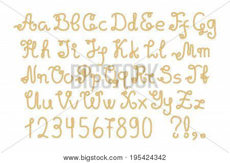Yellow nautical rope alphabet hand-drawn vector letters and numbers. Navy vector letter on white background. Yacht tackle alphabet. Uppercase and lowercase rope letter. Marine typeface. Nautical type