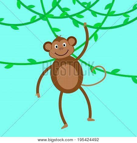Funny monkey. Monkey hanging on liana. Vector illustration.
