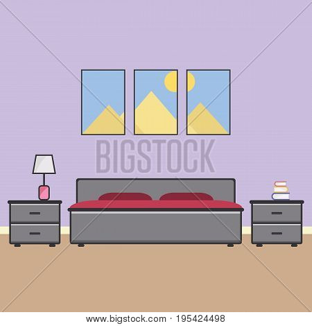 Vector flat bedroom. Bedroom interior. Double bedroom. Family bedroom for a couple with furniture. Vector illustration.