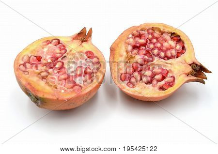 Pomegranate on white background photo close up