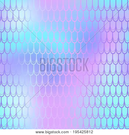 Fantastic neon fish scale pattern vector texture. Mermaid seamless pattern tile. Fish skin background. Nautical seamless pattern swatch. Colorful mermaid tail. Fishscale with pink blue gradient mesh