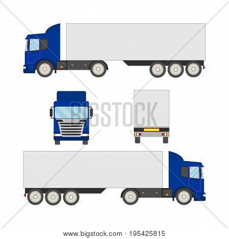 Vector set truck trailer of flat style. Flat truck with view of front, back and two sides. Vector truck trailer template isolated on white background. Cargo delivering vehicle.