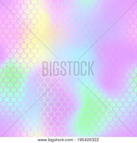 Mermaid fish scale vector pattern for background. Mermaid tail seamless pattern for packaging or surface design. Girlish pink and yellow background. Fantastic fish skin in pastel colors. Seamless mesh