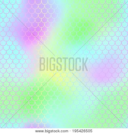 Mermaid fish scale vector pattern for background. Mermaid tail seamless pattern for packaging or surface design. Girlish green and blue background. Fantastic fish skin in pastel colors. Seamless mesh