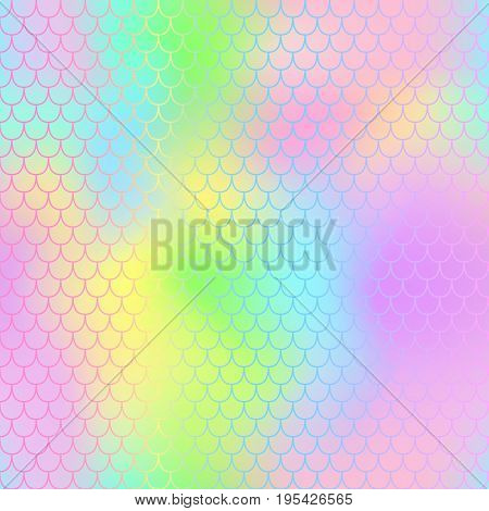 Fantastic mermaid vector pattern for background. Mermaid tail seamless pattern for packaging or surface design. Pink and yellow background. Fish scale in pastel colors. Seamless animal pattern