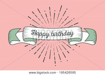 Trendy retro ribbon with text Happy birthday and light rays sunburst. Colorful banner with ribbon for design game web. Vector Illustration