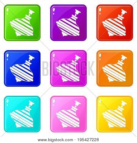 Carousel humming top icons of 9 color set isolated vector illustration