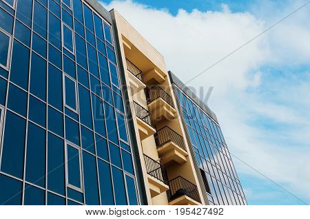 Details of the residential building on sky