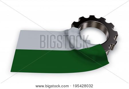 gear wheel and flag of saxony - 3d rendering