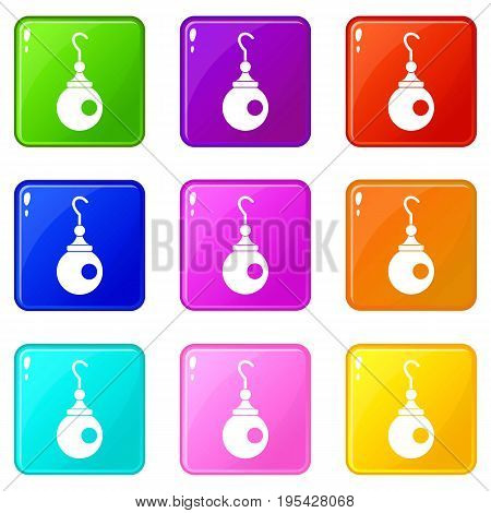Earring icons of 9 color set isolated vector illustration
