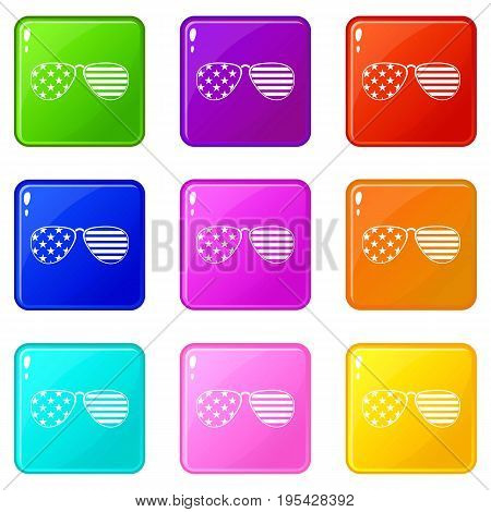 American glasses icons of 9 color set isolated vector illustration