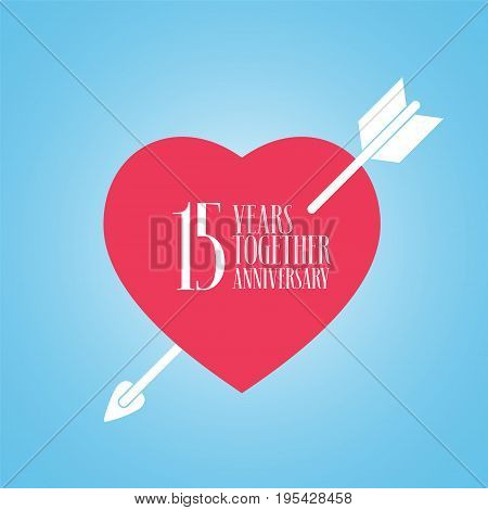 15 years anniversary of wedding or marriage vector icon illustration. Template design element with heart and arrow for celebration of 15th wedding