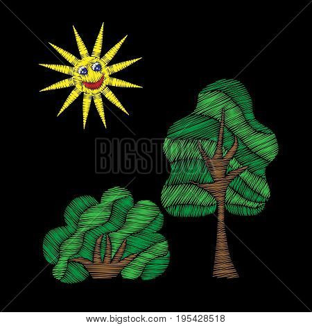 Tree and bush with sun embroidery stitches imitation. Fashion embroidery patch on black background. Embroidery green tree and bush vector.