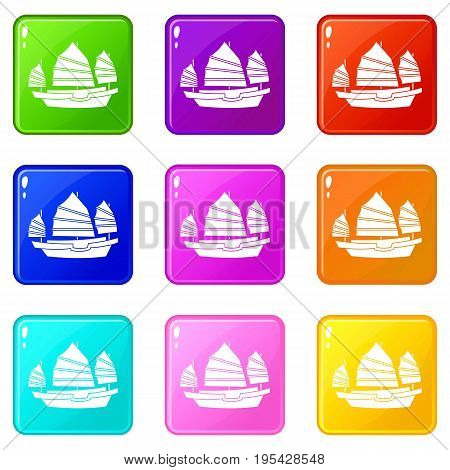 Junk boat icons of 9 color set isolated vector illustration