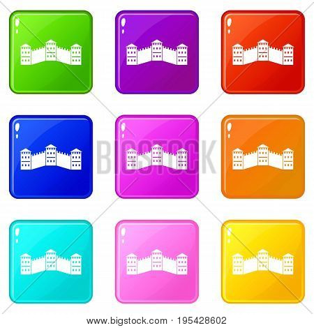 Great Wall of China icons of 9 color set isolated vector illustration