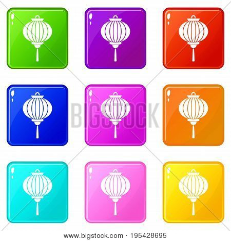 Chinese lantern icons of 9 color set isolated vector illustration