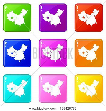Map of China icons of 9 color set isolated vector illustration