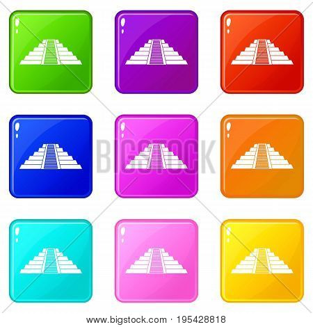 Ziggurat in Chichen Itza, Yucatan icons of 9 color set isolated vector illustration