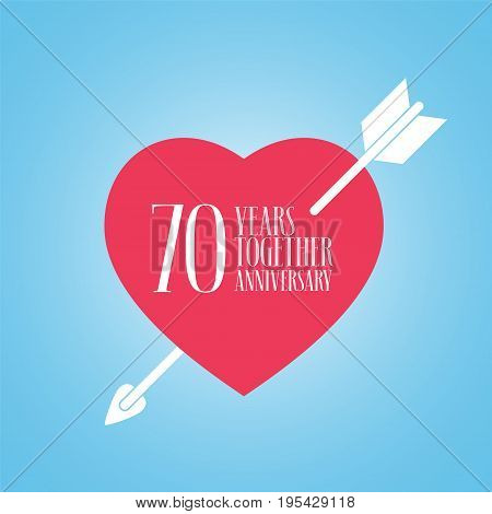 70 years anniversary of wedding or marriage vector icon illustration. Template design element with heart and arrow for celebration of 70th wedding