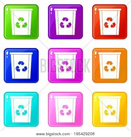 Trash bin with recycle symbol icons of 9 color set isolated vector illustration