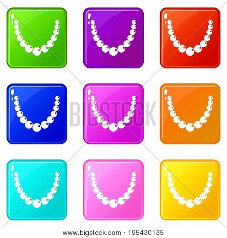 Bead icons of 9 color set isolated vector illustration