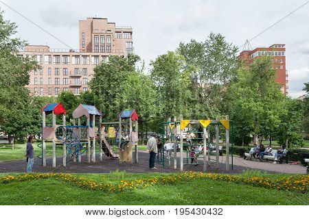 MOSCOW - JULY 5: Children's playground in December Uprising Park on July 5 2017 in Moscow. This Park is located in the center of Moscow.