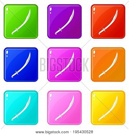 Cutlass icons of 9 color set isolated vector illustration