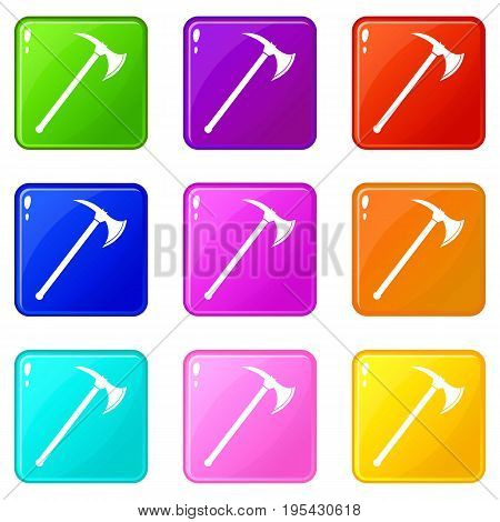 Ax icons of 9 color set isolated vector illustration