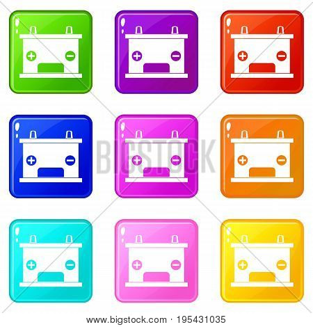 Electricity accumulator battery icons of 9 color set isolated vector illustration