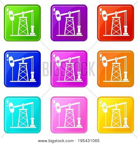Oil derrick icons of 9 color set isolated vector illustration
