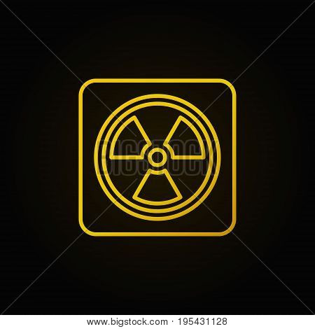 Radiation concept linear yellow icon. Vector nuclear power sign or logo element in thin line style on dark background