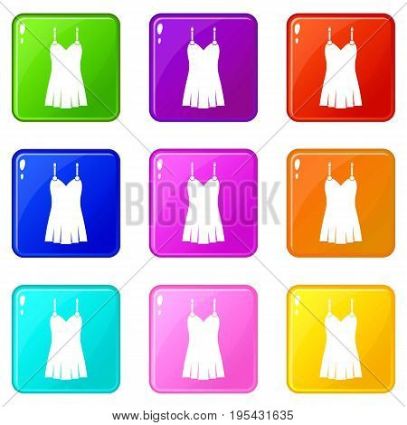 Nightdress icons of 9 color set isolated vector illustration