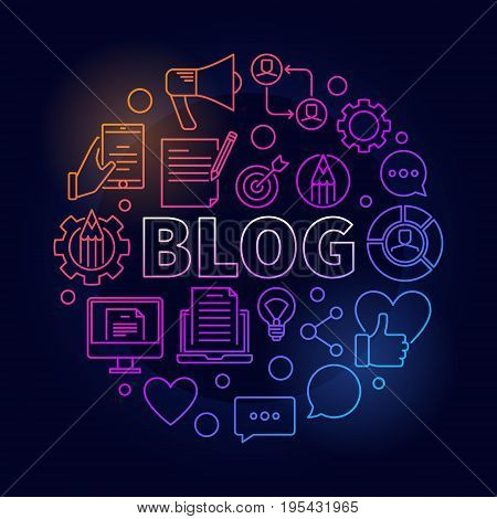 Blogging round colorful illustration - vector circular concept symbol made with word BLOG and thin line blogging icons on dark background