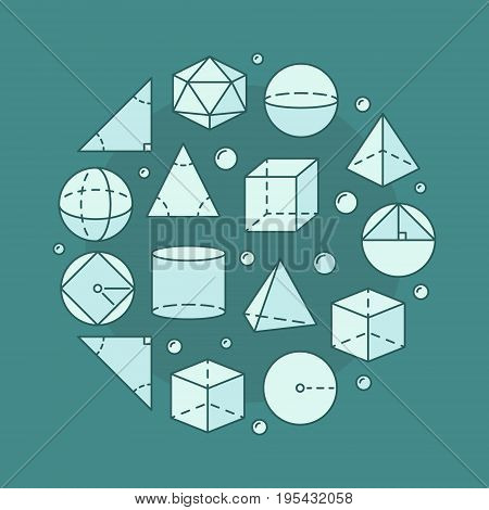 Trigonometry and geometry circular illustration. Vector round science or education concept symbol made with geometric shapes