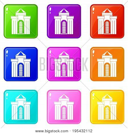 Medieval palace icons of 9 color set isolated vector illustration