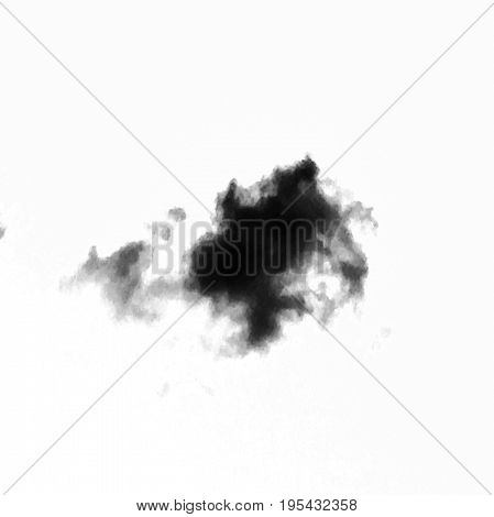 Isolated black clouds on white sky. Set of isolated clouds over white background. Design elements. Black isolated clouds. Cutout extracted clouds. Smoke.