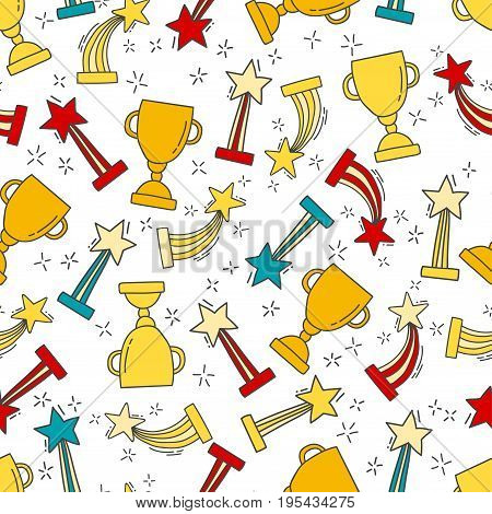 Seamless pattern with hand-drawn awards. Sketch icons of cup and trophy for first place. Prize for winner. Vector illustration.