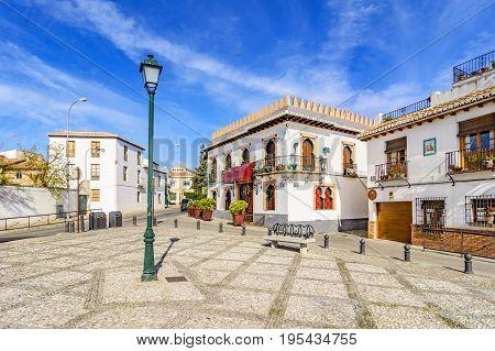 Little Square In Albaicin, Granada,andalusia,spain