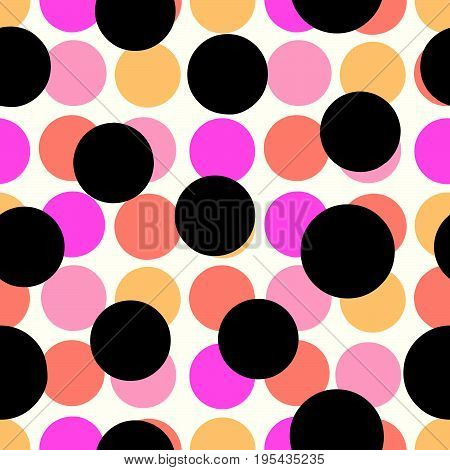 Polka Dots Seamless Pattern.textile Ink Brush Strokes Texture In Pop Art Style.
