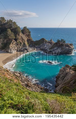 the scenic landscape of McWay Falls along the California coast near Big Sur