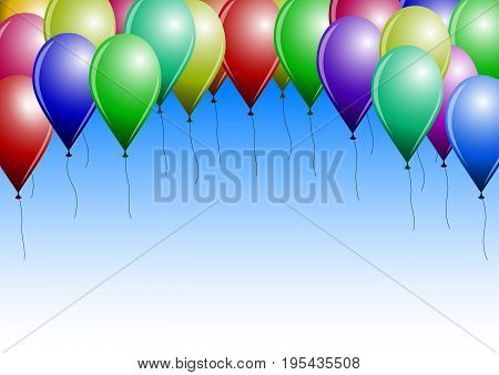 Festive background (pattern) - Multi colored balloons close up in vector