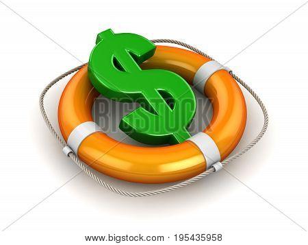 Green Dollar Symbol In Lifebuoy