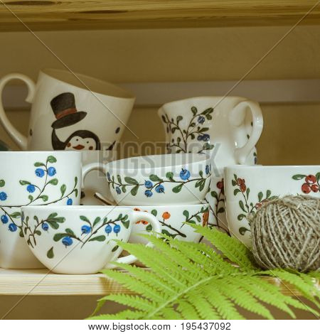 author's beautiful gift ceramic dishes with paintings cups with drawings
